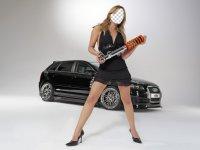 Девушка на фоне авто. Монтаж лица.
